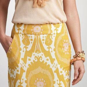J CREW |  Yellow Ikat Linen Pencil Skirt